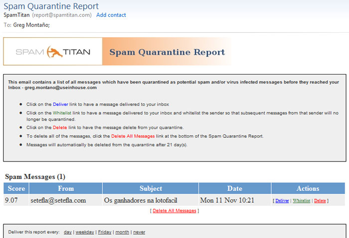 SpamTitan Spam Quarantine Report Screenshot