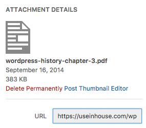 To Publish a PDF, copy the file URL