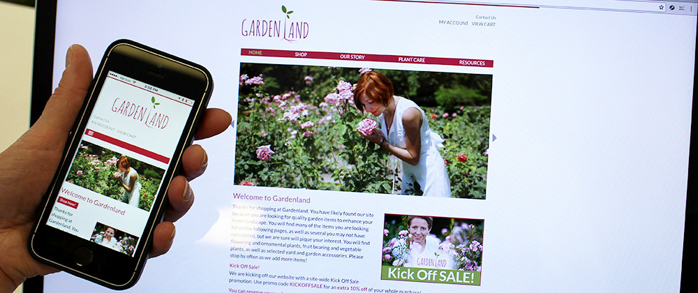 Gardenland website home page and mobile image