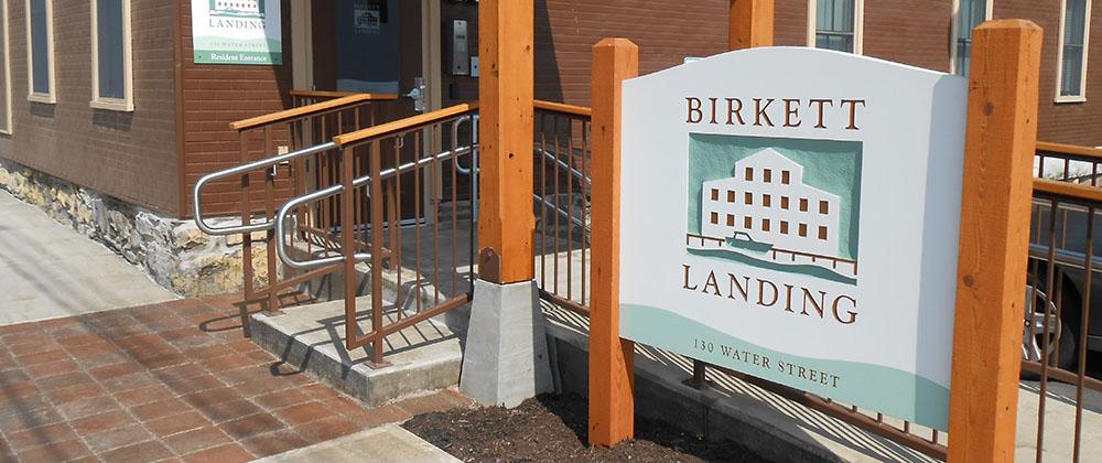 birkett landing facility entrance sign