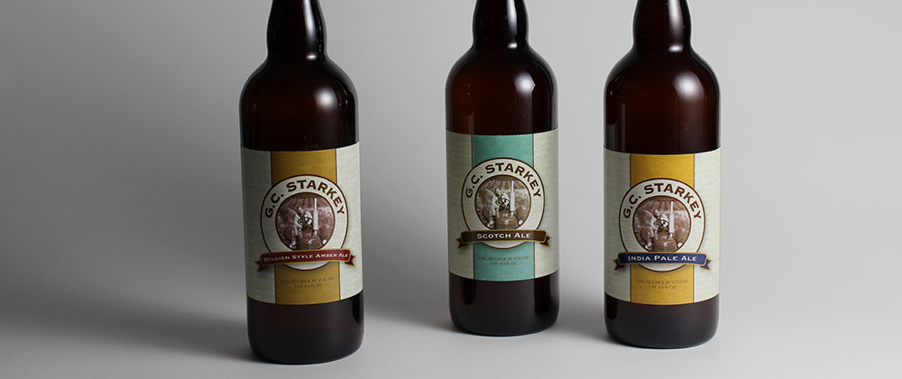 c g starkey beer labels