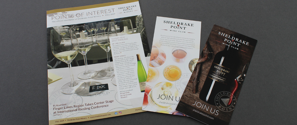 In House Graphic Design Sheldrake Point Winery Newsletter Rack Cards 1