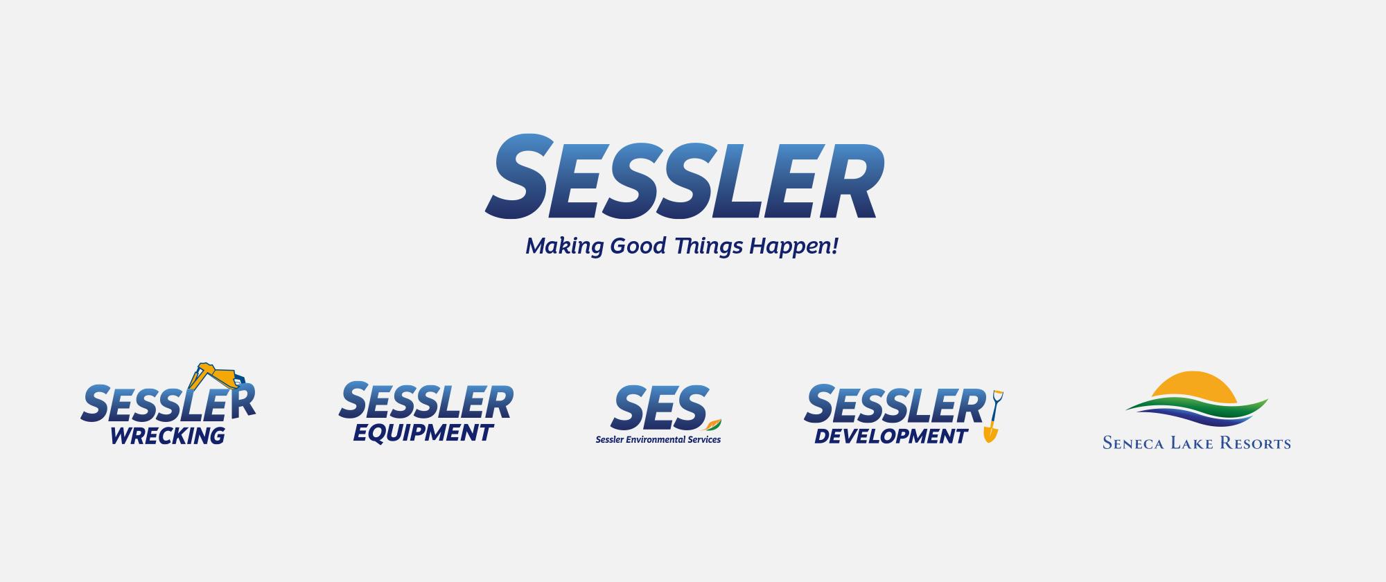 Sessler Family Of Logos Blue Gradient Grey Background