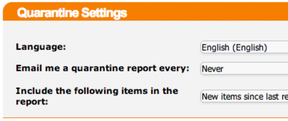 spamtitan quarantine report settings